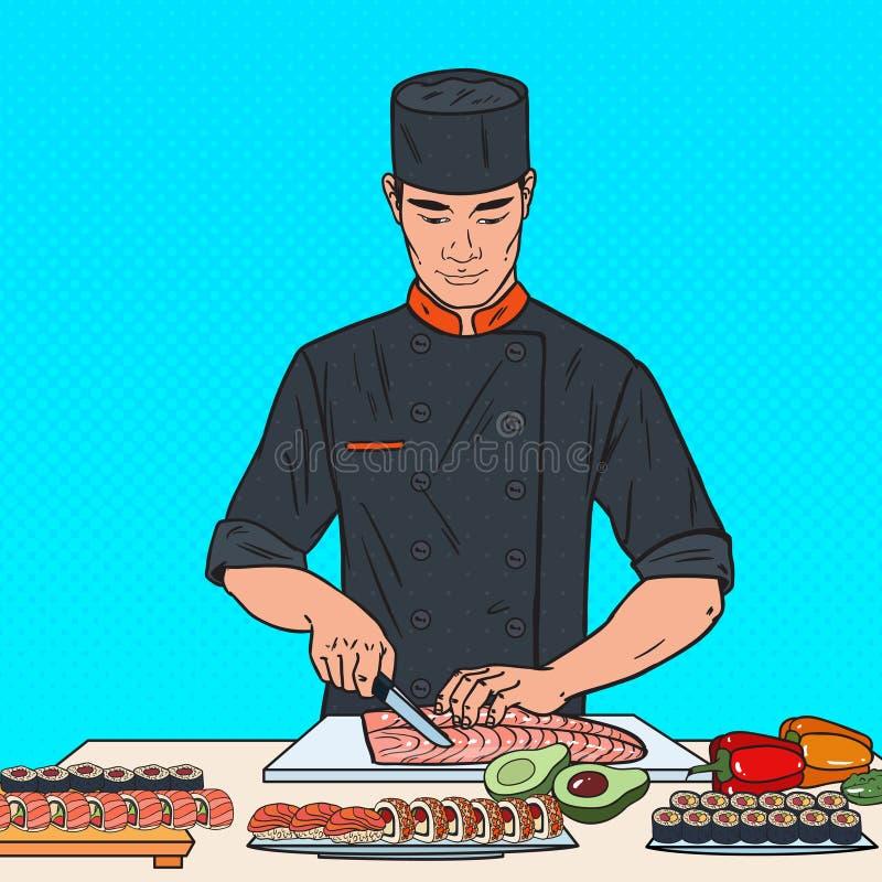 Wystrzał sztuki szefa kuchni narządzania suszi w Japońskiej restauraci ilustracji