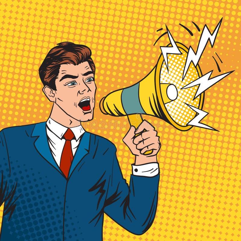 Wystrzał sztuki szefa megafonu i lidera biznesu wektoru ilustracja ilustracji