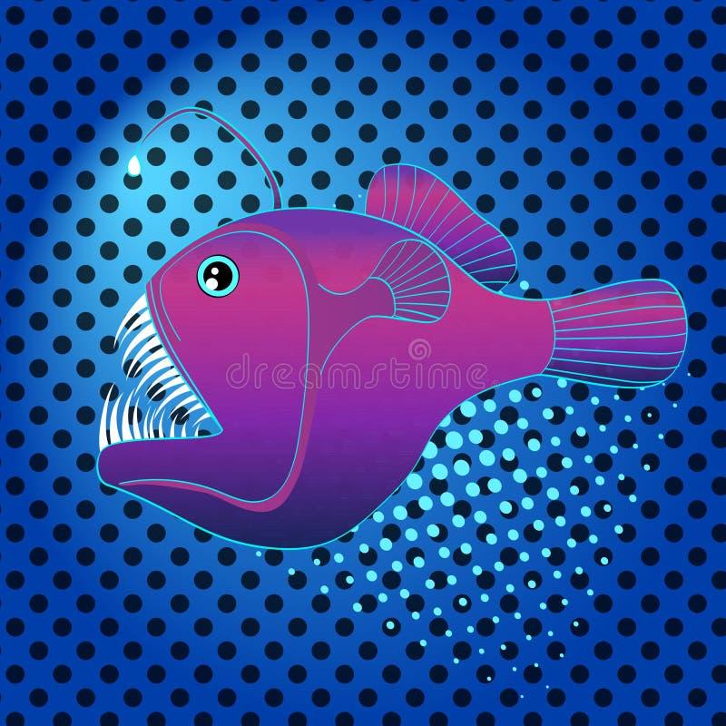Wystrzał sztuki tła głęboki morze, wody ryba, Lophius piscatorius Imitaci komiczki styl, retro wektor Zły drapieżnik ilustracji