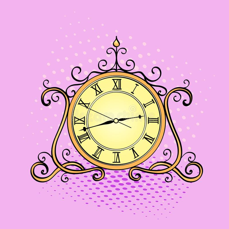 Wystrzał sztuki tło, desktop zegar Retro przedmiot, antyki, wektorowy imitaci komiczki styl ilustracja wektor