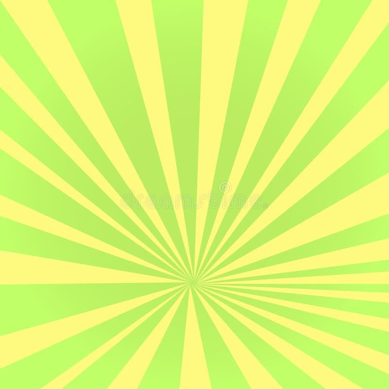 Wystrzał sztuki tło promienie słońce zielonego koloru zwroty w kolor żółtego Okręgi, piłki różni kształty wektor ilustracji