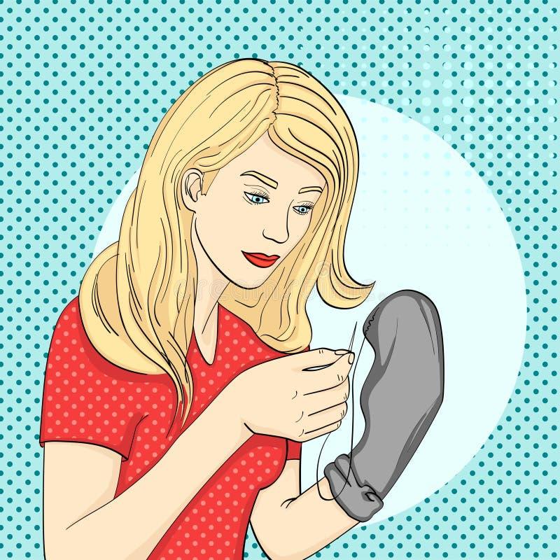 Wystrzał sztuki tło, punkt Potomstwa dziewczyna szą mężczyzna czarne skarpety z nicią i igłą Imitaci komiczki styl, retro ilustracja wektor