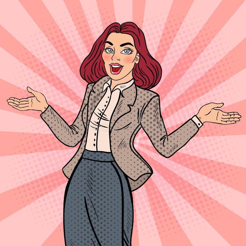 Wystrzał sztuki Z podnieceniem Szczęśliwa Biznesowa kobieta ilustracja wektor