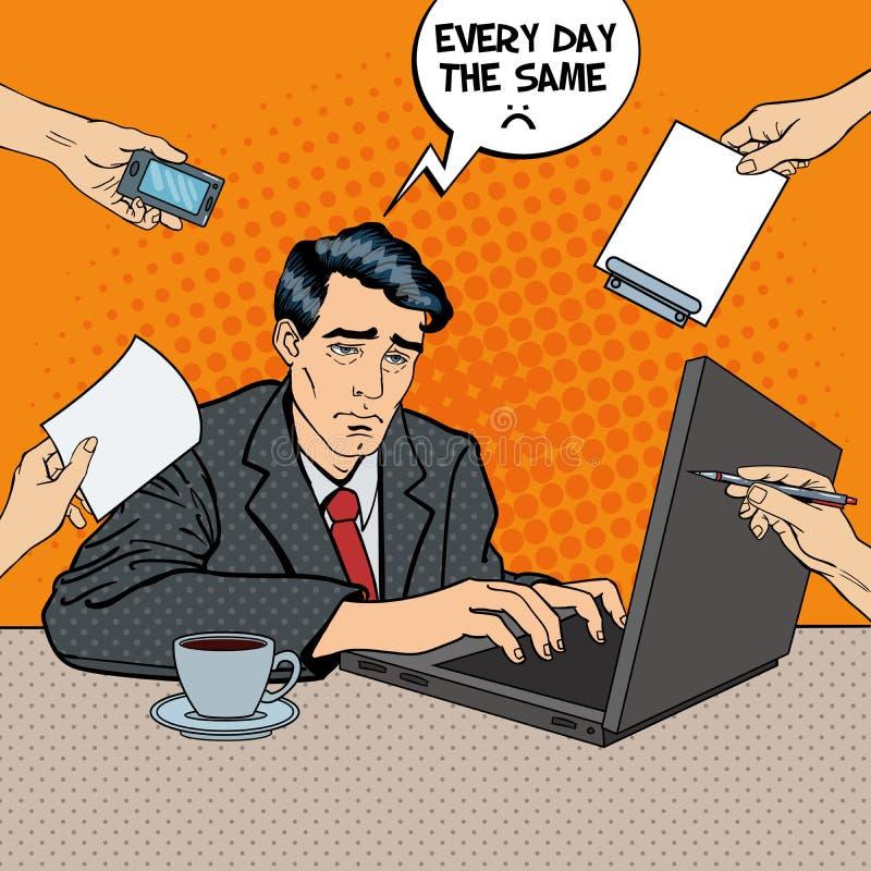 Wystrzał sztuki Zaakcentowany biznesmen z laptopem przy Wielo- Daje zadanie Biurową pracą royalty ilustracja