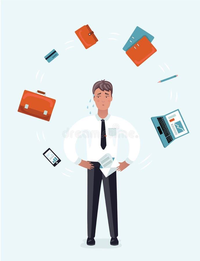 Wystrzał sztuki Zaakcentowany biznesmen z laptopem przy Wielo- Daje zadanie Biurową pracą również zwrócić corel ilustracji wektor royalty ilustracja