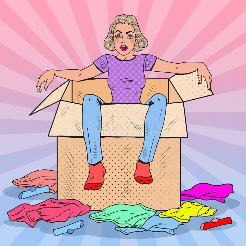 Wystrzał sztuki Zmęczona kobieta w pudełku z Różnym Odziewa moving nowego domu royalty ilustracja