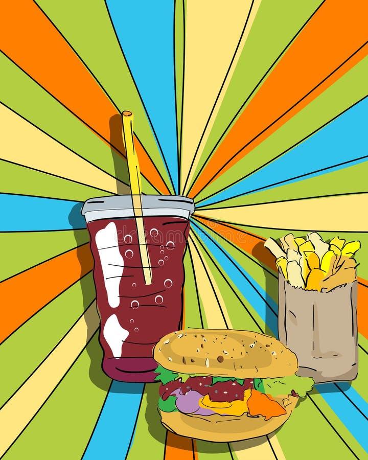 Wystrzału sztuki cheeseburger, dłoniaki i soda royalty ilustracja