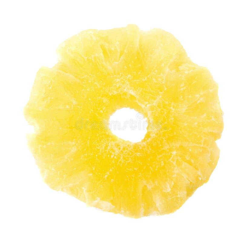 wysuszeni ananas plasterki, candied ananasowy plasterek odizolowywający na białym tle obrazy royalty free
