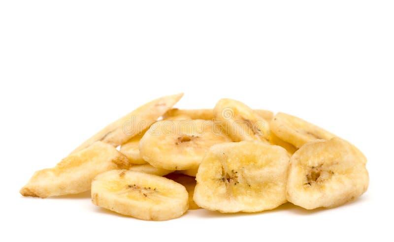 Wysuszeni bananów układy scaleni na białym tle fotografia royalty free
