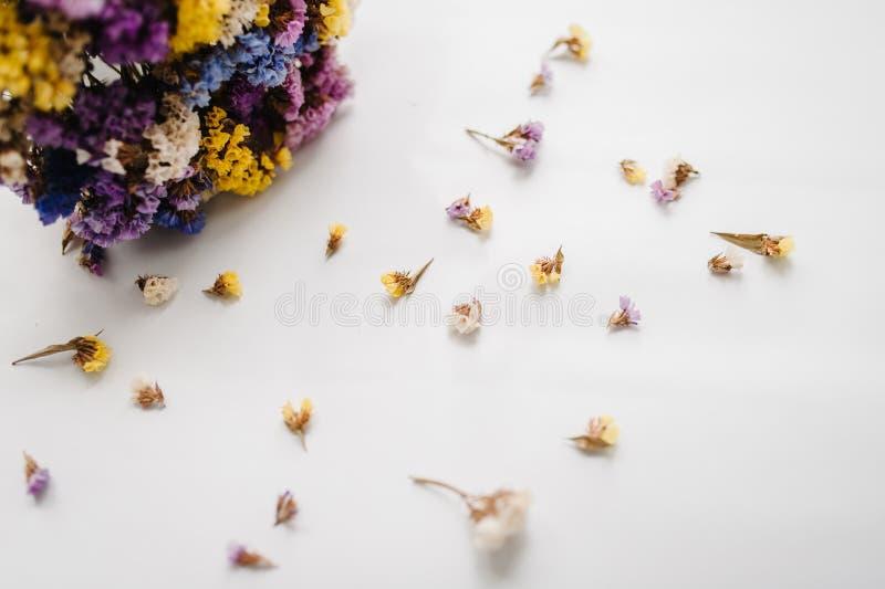 Wysuszeni barwioni kwiaty na stole, kopii przestrzeń kwitnie romantycznego fotografia royalty free