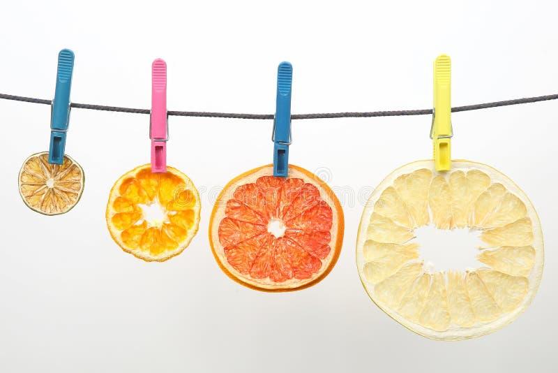 Wysuszeni kawałki cytrus owoc wieszają na clothespins obraz royalty free