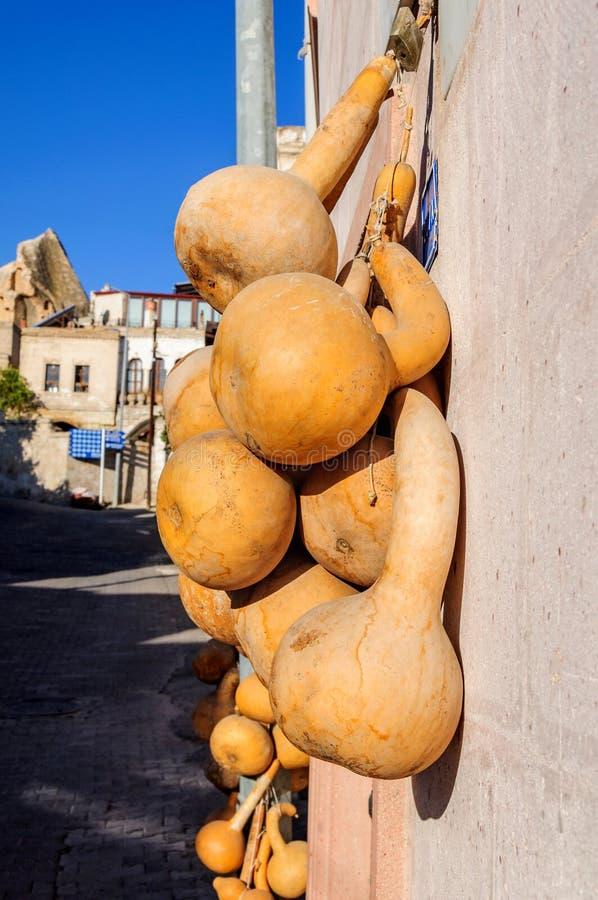 Wysuszona butelki gurda na ścianie w Goreme Cappadocia, kalabasy gurda, Kwitnął gurdy, Biały kwitnący gurdy Lagenaria zdjęcia stock