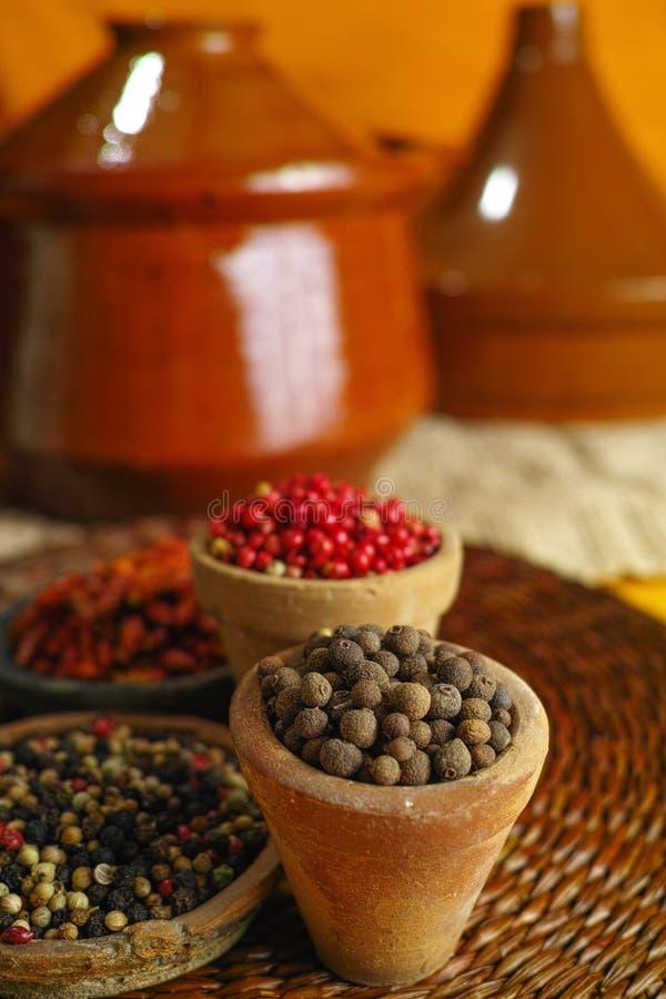 Wysuszona czerwień, gorący chili, czerń, biali pieprze w starych glinianych pucharach wewnątrz zdjęcie stock