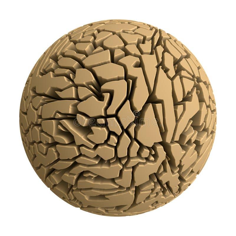 Wysuszona i krakingowa gliniana sfera ilustracji