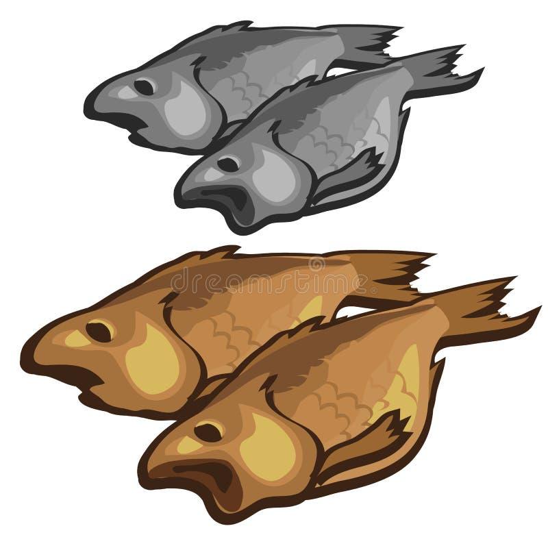 Wysuszona ryba jako przekąska, wektorowy jedzenie ilustracja wektor