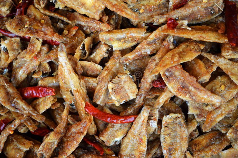 Wysuszona ryba z chili obrazy stock