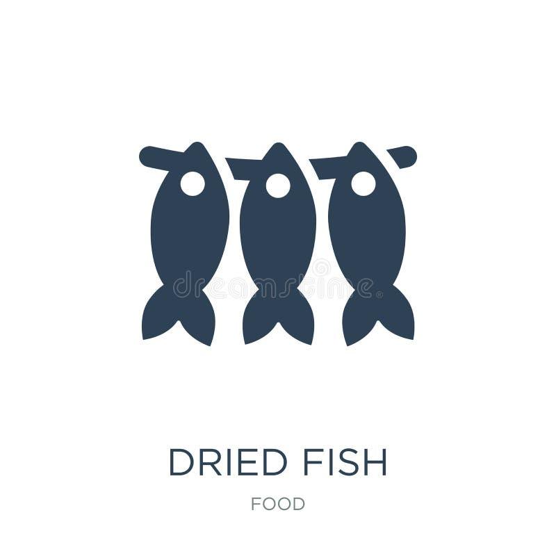 wysuszona rybia ikona w modnym projekta stylu wysuszona rybia ikona odizolowywająca na białym tle wysuszona rybia wektorowa ikona ilustracji