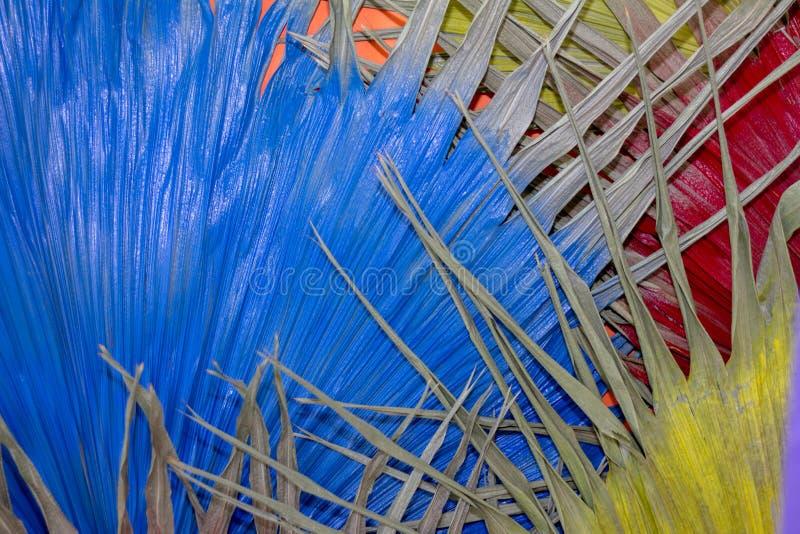 Wysuszonego liścia Żółta rewolucjonistka i błękit Dla tła obraz royalty free