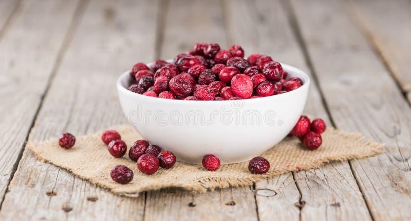 Wysuszonych Cranberries selekcyjna ostrość; szczegółowy zakończenie strzał obraz royalty free
