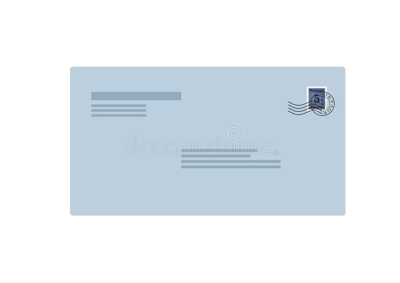Wysyła kopertową frontową stronę z znaczek pocztowy odizolowywającym wektorowym wizerunkiem royalty ilustracja