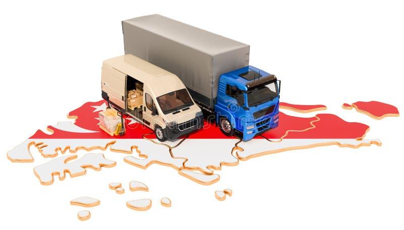 Wysyłka i dostawa w Singapur pojęciu, 3D rendering royalty ilustracja