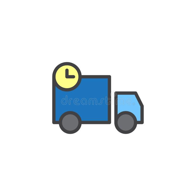 Wysyłać ciężarówkę z zegar wypełniającą kontur ikoną ilustracji
