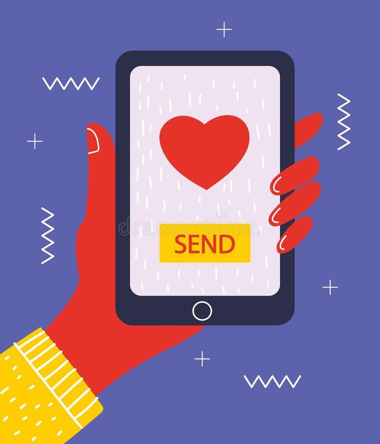 Wysyłać miłości wiadomości pojęcia ilustrację ilustracji