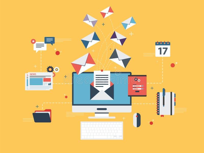 Wysyła lub otrzymywa emaila marketing, komunikację biznesową i marketing ilustracja wektor