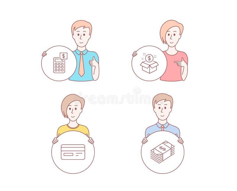 Wysyła pakunek, Kredytową kartę i kalkulator ikony, USD waluty znak Postbox, Karciana zapłata, pieniądze zarządzanie wektor ilustracja wektor