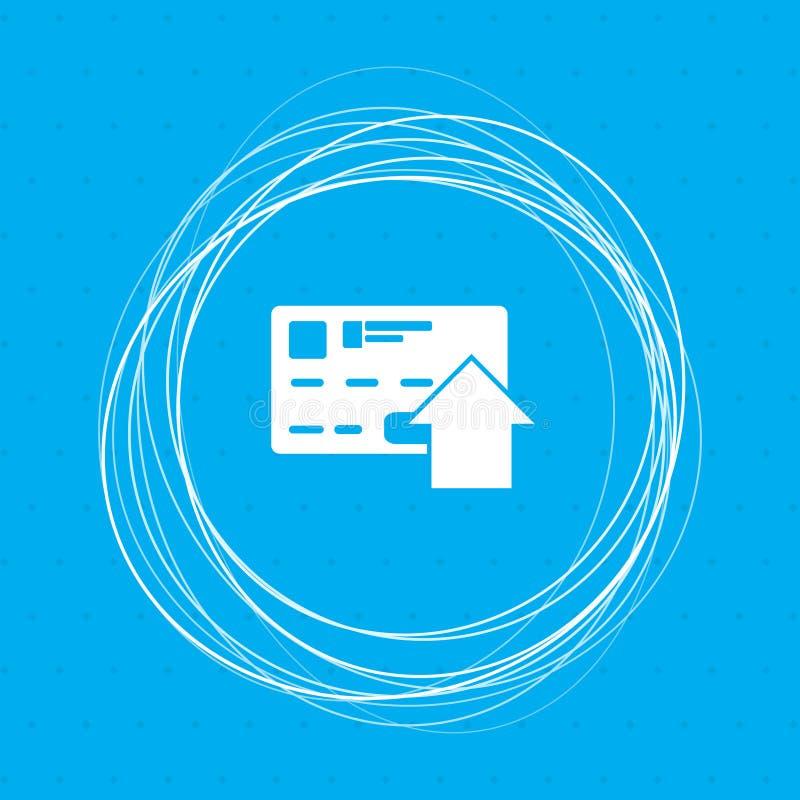 Wysyła pieniądze z kredytowej karty ikoną na błękitnym tle z abstrakcjonistycznymi okręgami wokoło i umieszcza dla twój teksta ilustracji