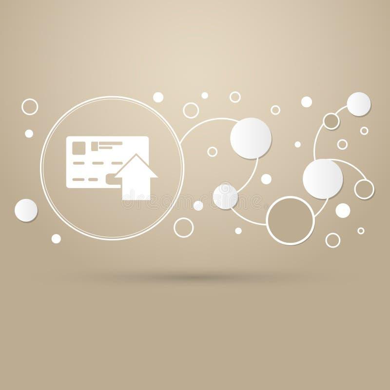 Wysyła pieniądze z kredytowej karty ikoną na brown tle z eleganckim stylem i nowożytnym projektem infographic royalty ilustracja