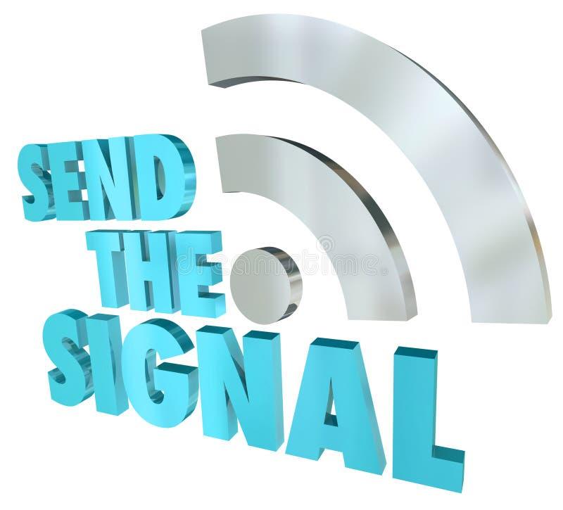 Wysyła sygnał Leje się wiadomości 3D słów Cyfrowego przekaz ilustracja wektor