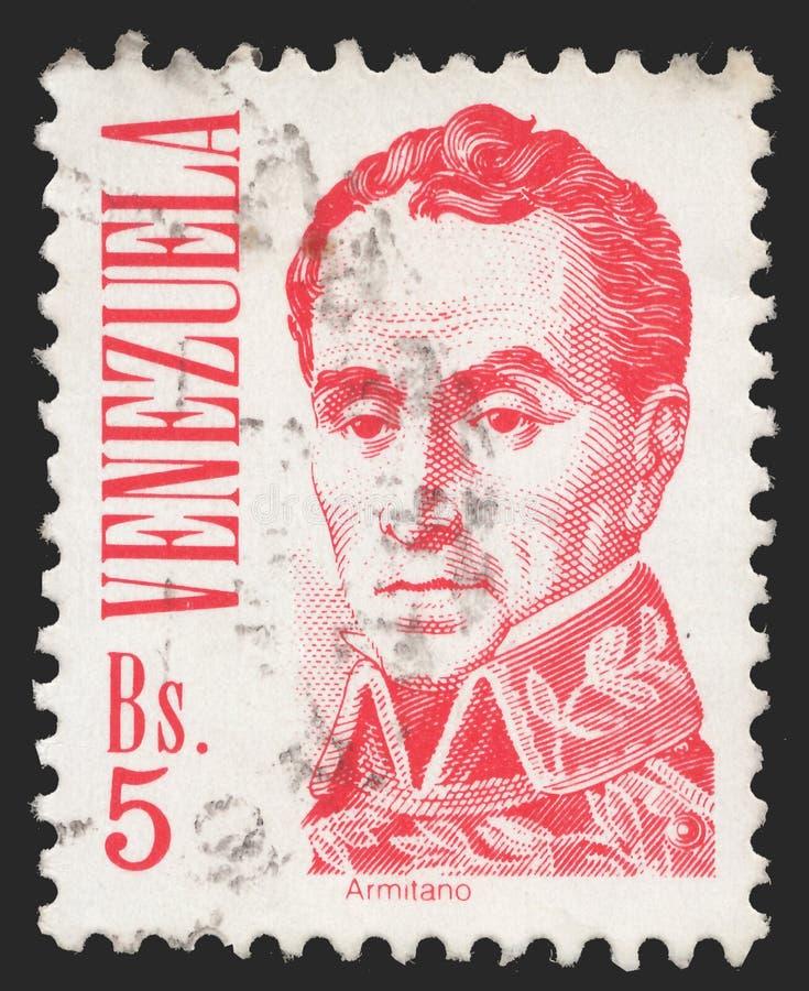 Wysyła znaczek drukującego Wenezuela z Simon Bolivar - Wenezuelski wojskowy i przywódca polityczny zdjęcia stock