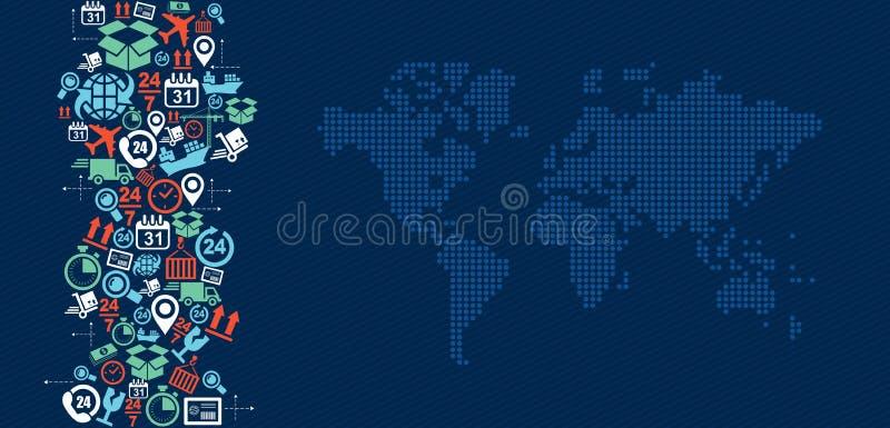 Wysyłek logistyk światowej mapy ikon pluśnięcia illustra ilustracja wektor