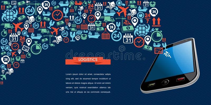Wysyłek logistyk app teksta ikony tasiemkowy mobilny spl ilustracja wektor