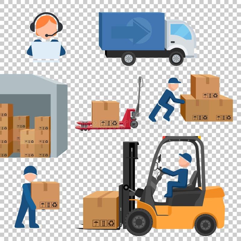 Wysyłka, ładunek wysyłki produkci wektor royalty ilustracja