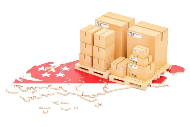 Wysyłka i dostawa od Singapur pojęcia, 3D rendering royalty ilustracja