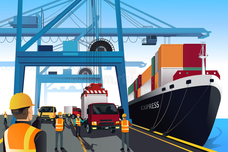 Wysyłka portu scena ilustracja wektor