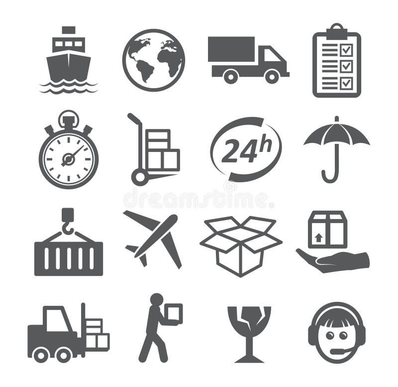 Wysyłki i logistyk ikony ilustracji