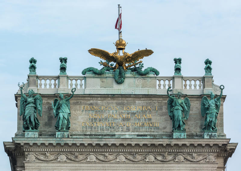 Wyszczególnia fotografię wierzchołek Hofburg pałac w Wiedeń, Austria zdjęcia stock
