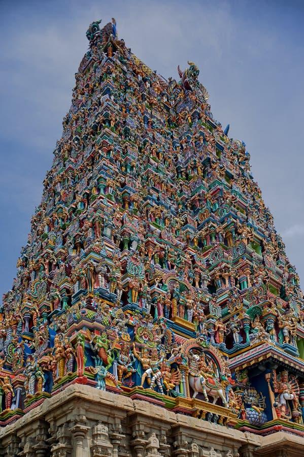 Wyszczególnia gopurams sundareswarar meenakshi lub meenakshi Amman świątynia, Madurai, tamil nadu zdjęcie stock