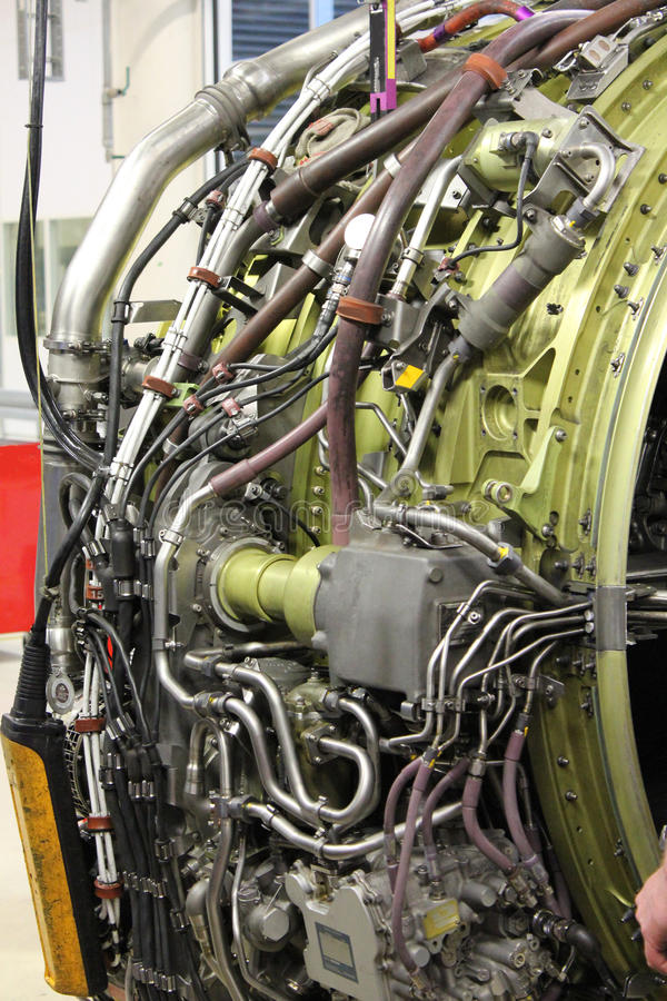 Wyszczególnia samolotu dżetowego silnika obraz royalty free
