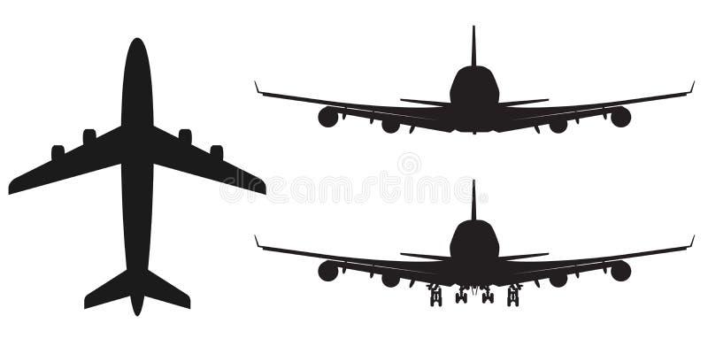 Wyszczególniająca wektoru samolotu sylwetka, stała ilustracja, odizolowywająca na bielu ilustracji
