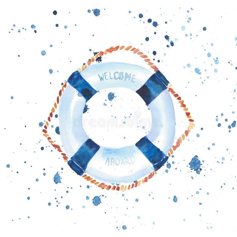 Wyszukanego ślicznego graficznego uroczego pięknego cudownego lato dennego świeżego morskiego rejsu kolorowa lifebuoy akwarela ilustracja wektor