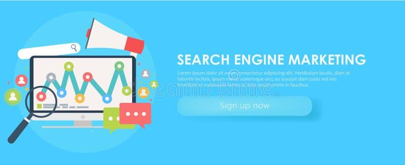 Wyszukiwarka Marketingowy sztandar Komputer z przedmiotem, diagram, użytkownik ikona ilustracji