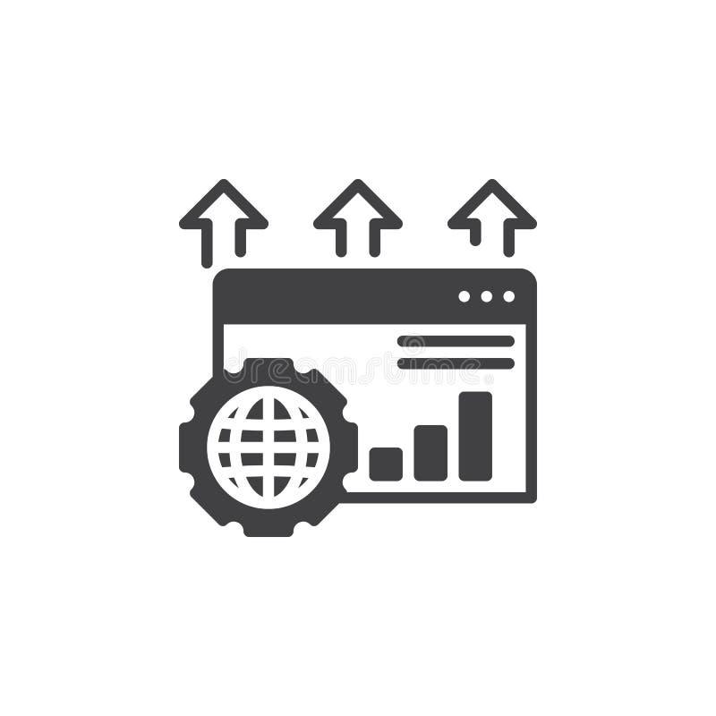 Wyszukiwarka optymalizacja ikony wektor, wypełniający mieszkanie znak, stały piktogram odizolowywający na bielu ilustracji