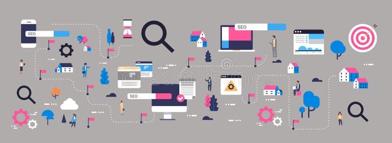 Wyszukiwarka optymalizacja mapy klienta produktu strony internetowej poruszającego promocyjnego seo komputerowego zastosowania mo ilustracja wektor