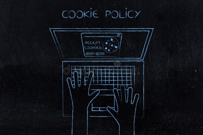Wyszukiwarki ciastka polisa akceptuje użytkownika wybór lub obniża obrazy royalty free