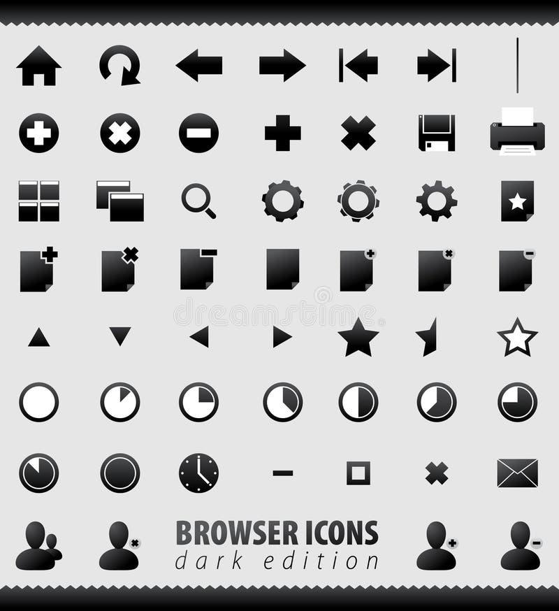 wyszukiwarki emaila ikon internetów set ilustracja wektor