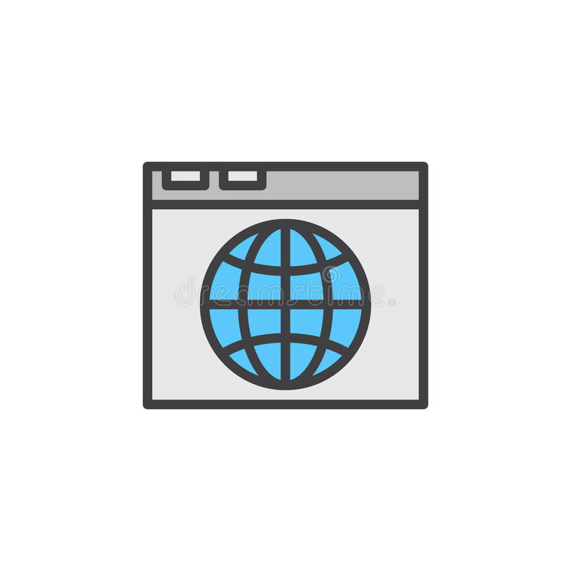 Wyszukiwarki i kuli ziemskiej kreskowa ikona, wypełniający konturu wektoru znak, liniowy kolorowy piktogram odizolowywający na bi royalty ilustracja